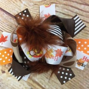 NEW Thanksgiving Turkey Stacked Boutique Hair Bow